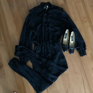 Vintage Sheer Black with Lace Jumpsuit